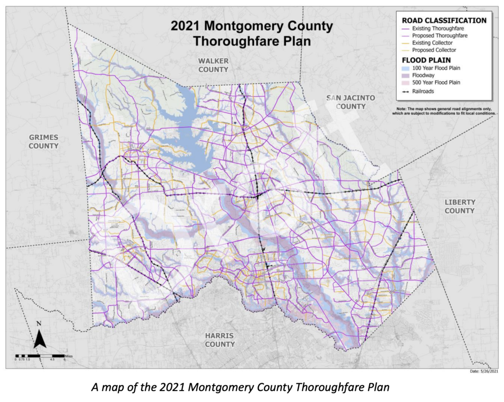 PHOTO: A map of the 2021 Montgomery County Thoroughfare Plan.