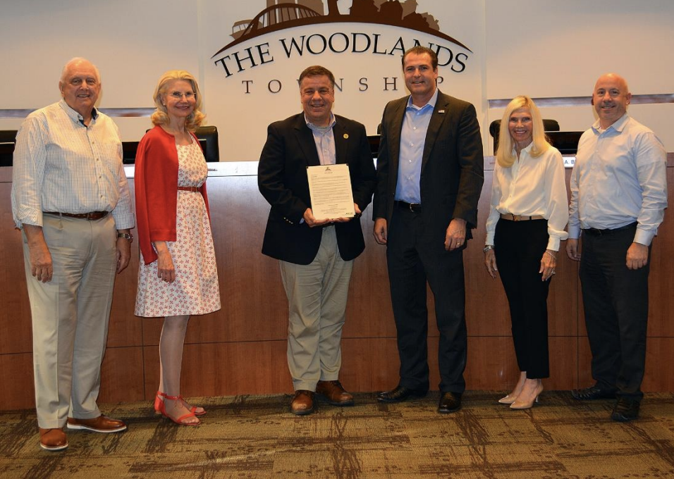 The Woodlands Township Board of Directors proclaimed July 2021 as Parks and Recreation Month in The Woodlands. Pictured left to right are Vice Chairman Bruce Reiser, Secretary Dr. Shelley Sekula-Gibbs, Parks and Recreation Director Dr. Chris Nunes, Chairman Gordy Bunch, Director Dr. Ann K. Snyder and Treasurer John Anthony Brown.