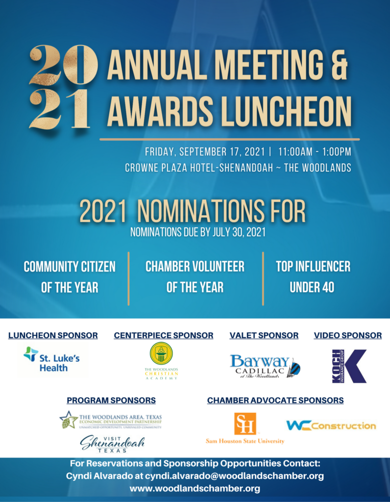 2021 Annual Meeting & Awards Luncheon Woodlands Area Chamber of Commerce