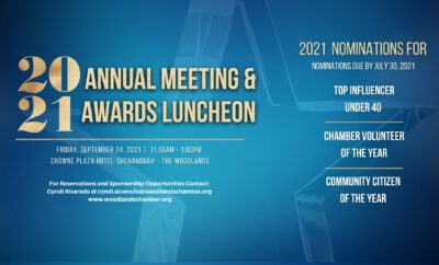 2021 Woodlands Area Chamber of commerce Annual Meeting Award Luncheon