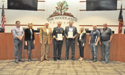 The Woodlands Township Board of Directors held its regular meeting on Thursday, August 19, 2021, at The Woodlands Township Town Hall, 2801 Technology Forest Boulevard in The Woodlands, Texas. The Board issued proclamations in honor of September 11: Patriot Day, National Day of Service and Remembrance and First Responders Day. Pictured above is The Woodlands Fire Chief Palmer Buck and the Township Board of Directors, from left, Jason J. Nelson, Dr. Shelley Sekula-Gibbs, Bruce Rieser, Chief Buck, Gordy Bunch, Dr. Ann Snyder, John Anthony Brown, and Bob Milner.