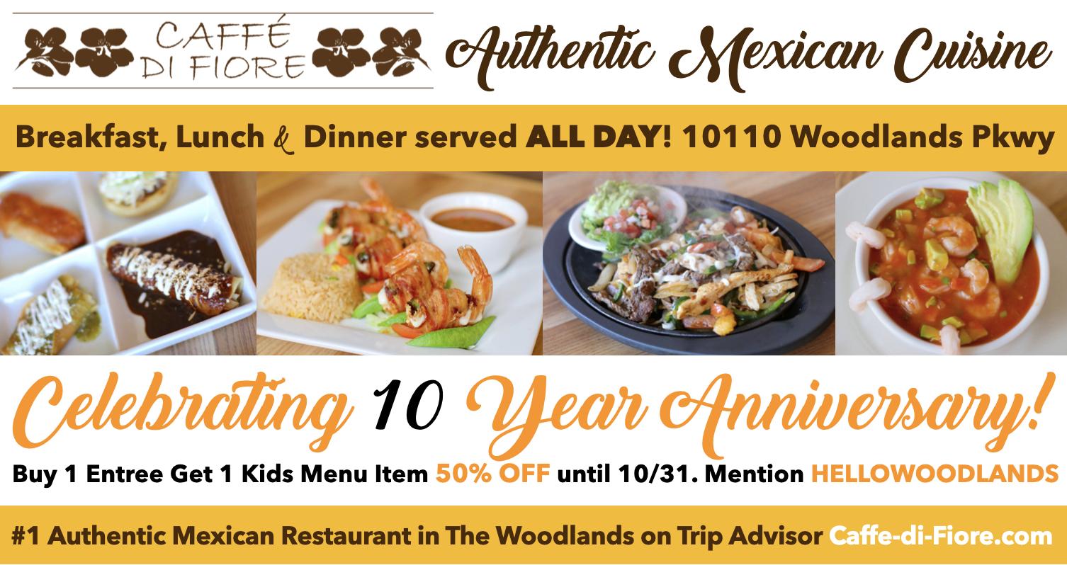 Caffe di Fiore The Woodlands celebrates 10 Year Anniversary