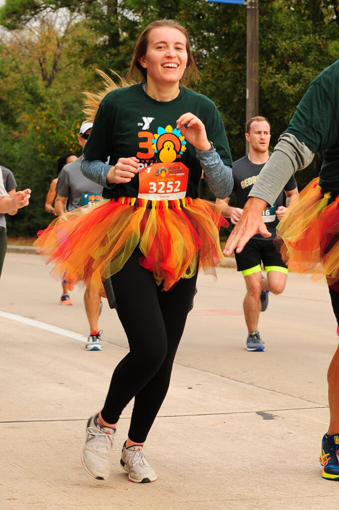 the annual YMCA Run Thru The Woods charity event held on Thanksgiving morning in The Woodlands, Texas.